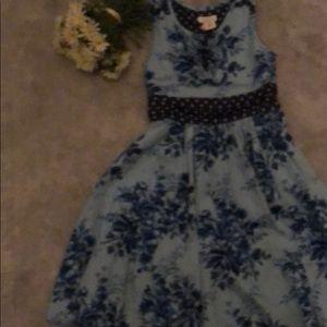 Monsoon blue navy flower dress